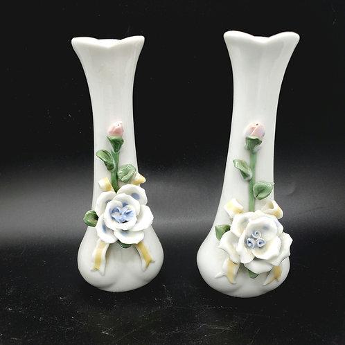 Vintage Porcelain Applied Flowers Capodimonte Style Vases Set of 2