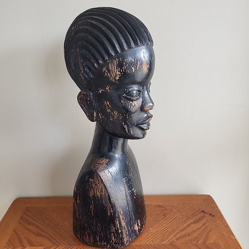 "Vintage Wooden Handcarved African Bust 21""High Heavy"