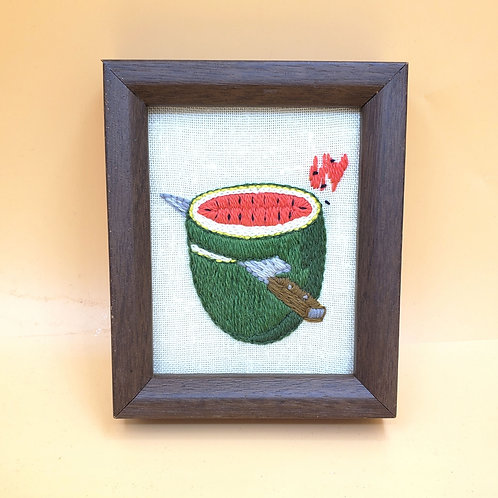 """Embroidered Watermelon Wood Frame Small 5""""x6"""""""