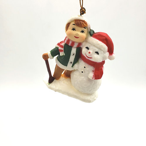 Vintage Child with Snowman Ornament