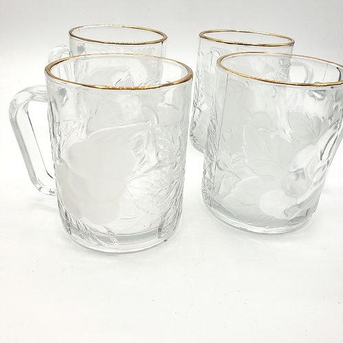 Winter Garden 10 oz Glass Mugs Set of 4
