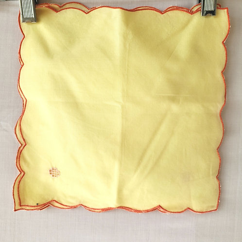 Vintage Yellow Red Trim Embroidery Napkins Set of 4