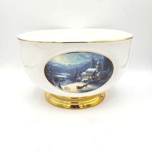 Thomas Kinkade Centerpiece Bowl Painter of Light Planter Gold Trim Teleflora
