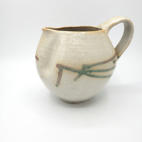 "Handmade Pottery Round Pitcher 7"""