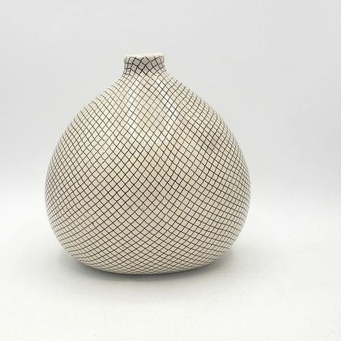 "Ceramic Diamond Pattern Vase 8""H"