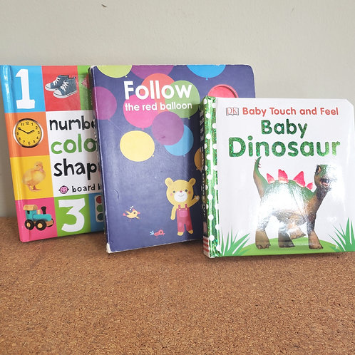 Baby Board Books Set of 3 Colors Shapes Baby Dinosaur and Follow the Red