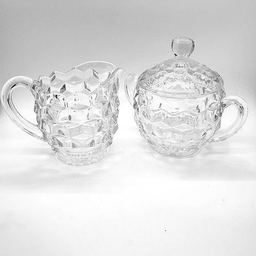 Glass Creamer and Sugar with Lid