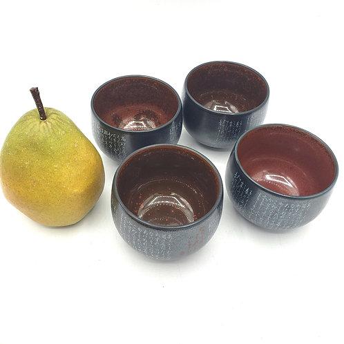 Teacups without Handles Scrip Multi-color inside Set of 4