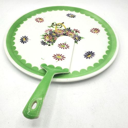 """Vintage Germany Floral Cake Platter with Serving Utensil Porcelain 13""""(tiny chip"""