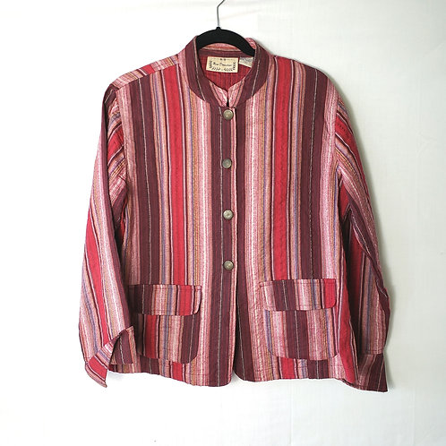 New Directions Berry Striped Cotton Blazer - M