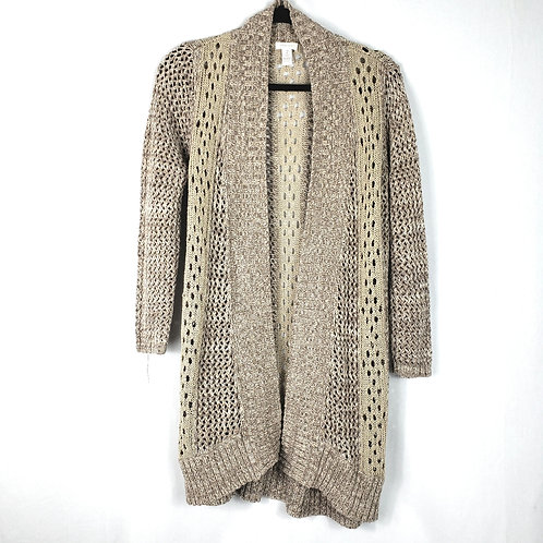 Chico's Open Knit Neutral Cardigan - size 2
