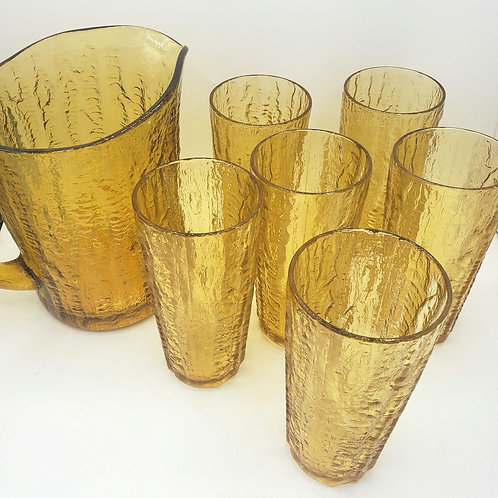 Tiffinware by Continental Pitcher with Glasses Set of 6 LIKE NEW with box