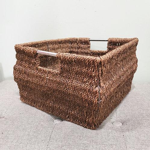 "Wavy Wicker Basket with Handles 10""W 8""H"