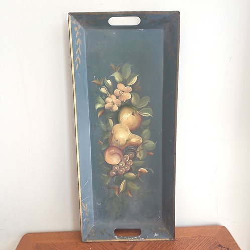 """Vintage Rectangle Metal Tray Painted Floral Fruit 9.5""""x 21"""""""