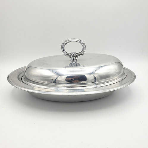 Vintage Pfaltzgraff Serving Dish with Glass Insert and Cover
