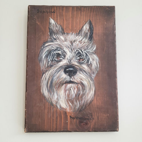 """Vintage Handpainted Wooden Wall Hanging """"A dog named Shadow""""11""""x18"""""""