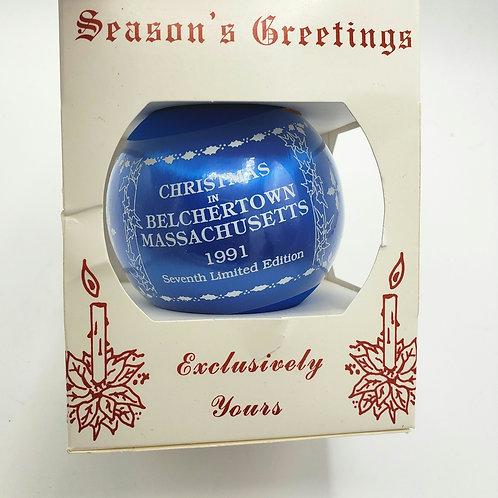 1991 Christmas in Belchertown Glass Ornament