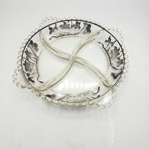 Vintage Condiment Dish with Silver Overlay