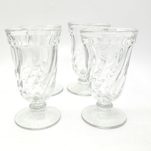Vintage Small Pressed Swirl Glass Parfait Ice Cream Set of 4
