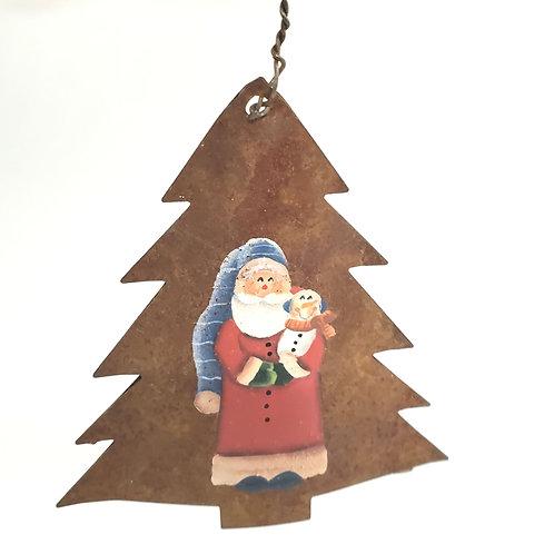 Metal Tree with Painted Santa