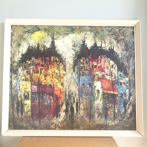 """Maurille Prevost 1950s-60s Print On Board 24x26"""" Les Silhouettes"""