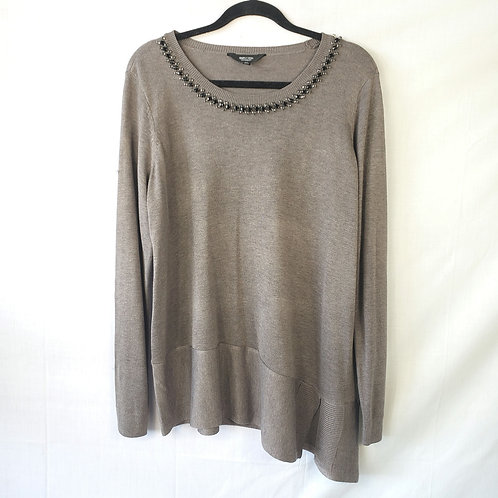 Simply Vera Assmeytrical Gray Sweater with Embellishment - OX