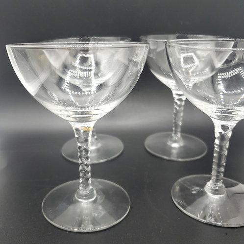 Vintage Twisted Stemware Wine Champagne Glasses Set of 4
