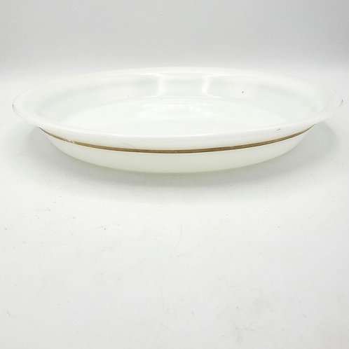 Pyrex Mid Century Modern White Milk Glass Pie Dish Gold Band(some gold chipped)