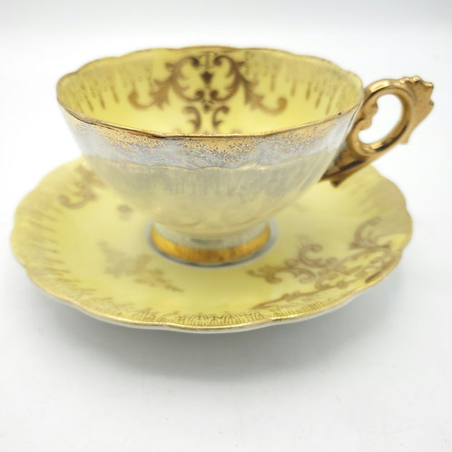 Royal Sealy China Tea Cup and Saucer Set Japan Yellow Gold Lusterware