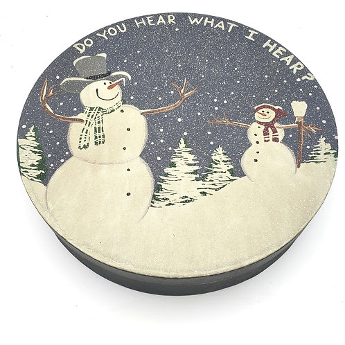 Round Wooden Handpainted Snowpeope with 7 Mini Round Boxes