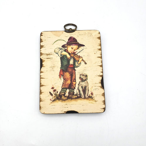 Vintage Boy with Dog Wall Plaque