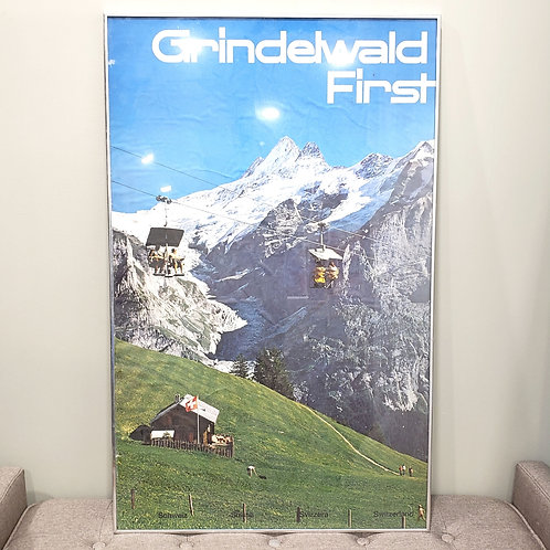 Vintage Original 1960s Grindelwald First Resort Switzerland Metal Framed AS IS