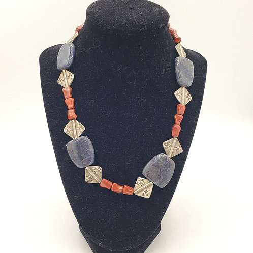 Blue and Red Stone Necklace