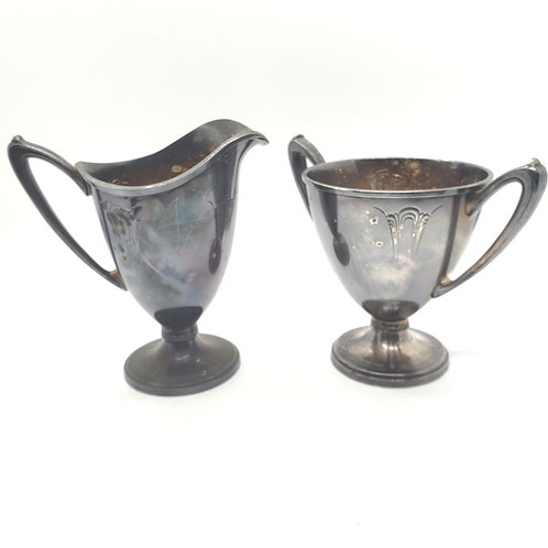 """Antique Wallace """"Iris"""" Silverplated Creamer and Sugar Set"""