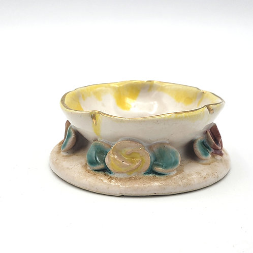 Vintage Handpainted Floral Trinket Dish Candle Holder 2.5""