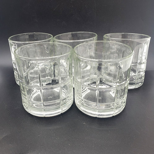 Vintage Anchor Hocking Tartan Glass Low Ball Cocktail Glasses Set of 5