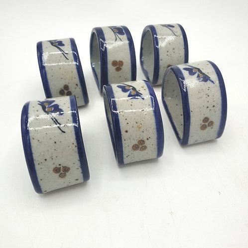 Handmade Ceramic Painted Glazed Napkin Rings Set of 6