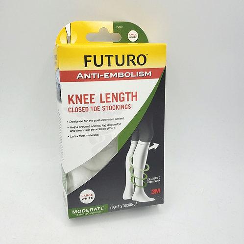 FUTURO Anti-Embolism Stockings, Knee Length, Closed Toe Large White