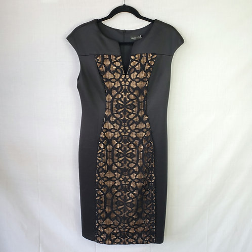 Connected Apparel Black with Lace Overlay Dress - size 10 New