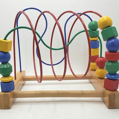 "Ikea Wooden Beaded Roller Coaster 11""H"