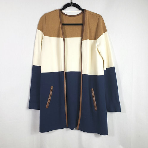 Colorblock Open Cardigan with Leather Trim - approx L/XL