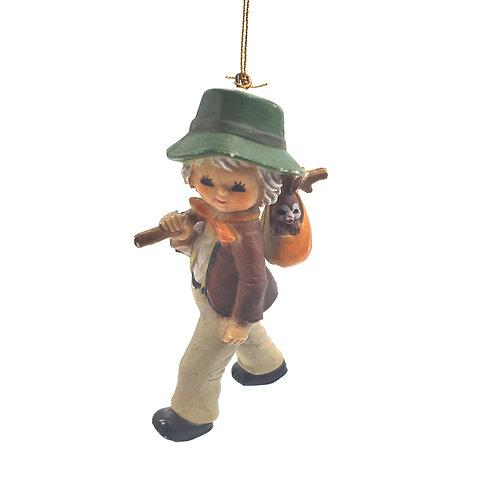 Vintage Electro-Plastics Child with Bunny In Sack Ornament