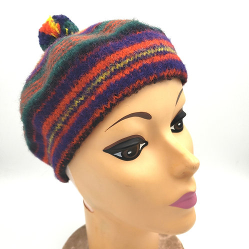 Vintage Striped Beret Small