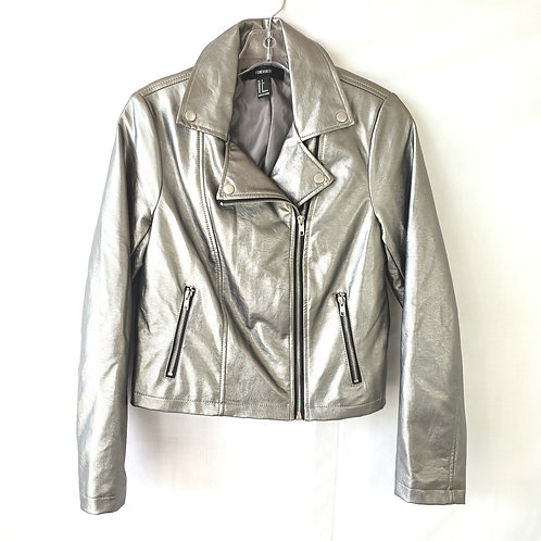 Forever 21 Silver Moto Jacket - S