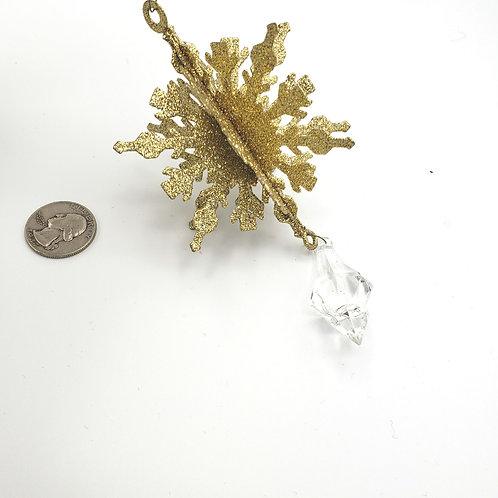 Metal Gold Snowflake with Hanging Crystal