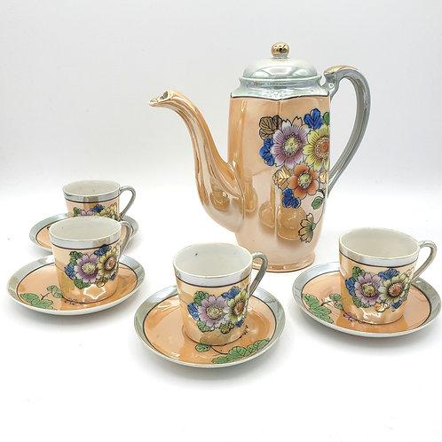 Vintage Japanese Tea Set Hand Made Japan Lustre Ware Lustreware 4 Cups
