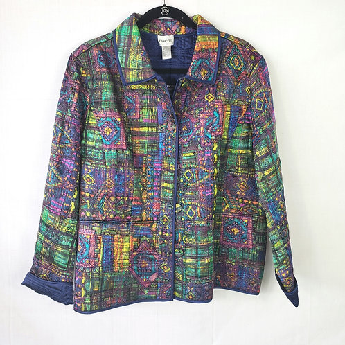 Chico's Graphic Print Quilted Blazer - size 3
