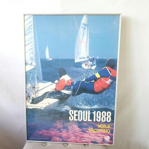 """Vintage Seoul 1988 Olympics Voile Yachting Poster Framed 26""""x37"""""""