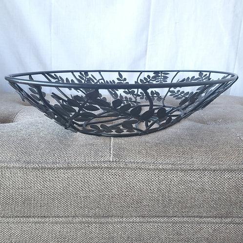 """Decorative Centerpiece Bowl Black Metal Leaves 23"""" x 13"""""""