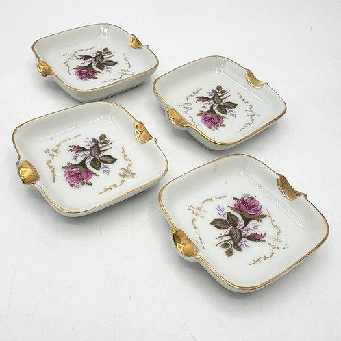 Edelstein Bavaria Germany Floral Porcelain Ashtrays Set of 4